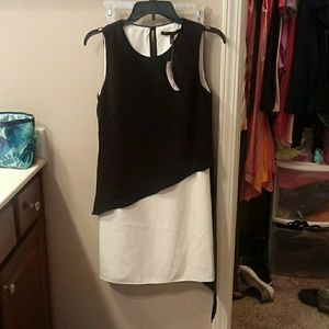 WHBM Black and white shift dress
